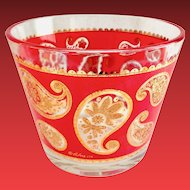 Red Paisley 22K Gold Ice Bucket Culver Mid Century Glass Barware