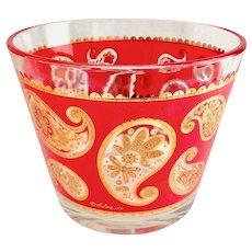 Red Paisley 22K Gold Ice Bucket Culver Mid Century Glass Barware