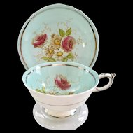 Paragon Bone China G4666/1 Sky Blue Rose Floral Teacup and Saucer