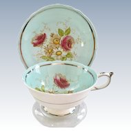 Paragon Bone China G4666/1 Sky Blue Rose Floral Teacup and Saucer