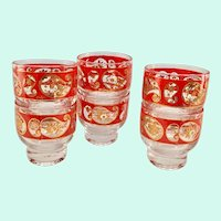 Culver Red Paisley 22K Gold Stacking Footed Cocktail Tumblers - Set of Six