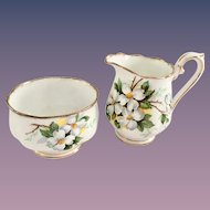 Royal Albert Bone China White Dogwood Individual Sugar and Creamer