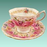 Royal Albert Bone China Serena Pink Rose Garland Teacup and Saucer