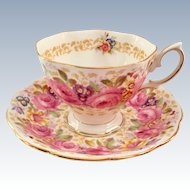 Royal Albert Bone China Serena Pink Rose Garland Teacup and Saucer