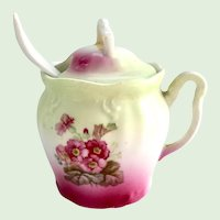 Porcelain Floral Covered Marmalade Jar and Spoon - Early 1900s