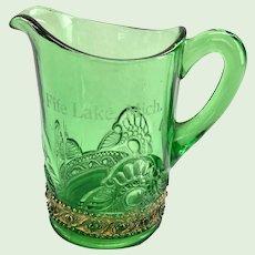 US Glass Lacy Medallion Green Toy Water Pitcher Souvenir of Fife Lake, Michigan Gold Trim Circa 1905