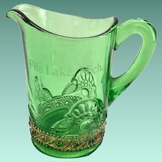 US Glass Lacy Medallion Green Toy Water Pitcher Souvenir of Fife Lake, Michigan Gold Trim Circa 1905