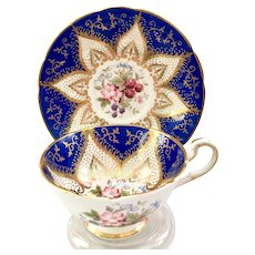 Paragon Bone China F144L Cobalt Blue and Gold Berry Motif Teacup and Saucer