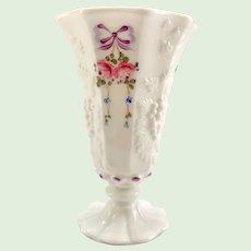 Westmoreland Roses and Bows White Glass Paneled Grape 6-Inch Vase