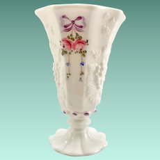 Westmoreland Roses and Bows White Glass Paneled Grape 6-Inch Vase