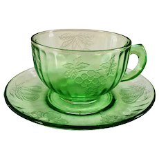 Hazel-Atlas Fruits Green Depression Glass Cup and Saucer