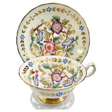 Royal Chelsea 385A Floral and Gold Laurel Bone China Teacup and Saucer