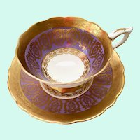 Lavender and Gold Filigree 8671 Bone China Teacup and Saucer Royal Stafford, Longton, England