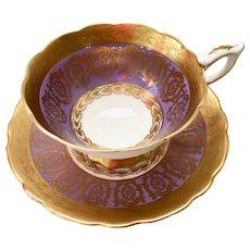 Lavender and Gold Filigree 8671 Bone China Teacup and Saucer Royal Stafford, Longton, England