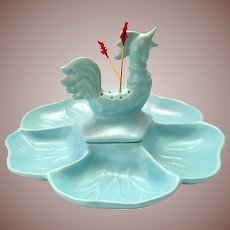 Vintage California Pottery Aqua Blue Rooster Hors D'Oeuvres Serving Dish