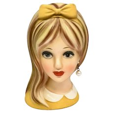 Napco C-8493 Teenage Girl Head Vase Yellow-Orange Bow Side-Swept Hair Pearl Earring