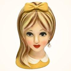 Napco C-8493 Teenage Girl Head Vase Yellow-Orange Bow Side-Swept Hair Pearl Earring