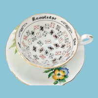 Aynsley Cup of Knowledge Floral Bone China Teacup and Saucer