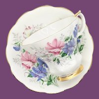 Royal Albert Bone China Friendship Series Sweet Pea Lyric Shape Teacup and Saucer