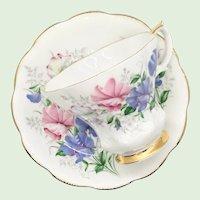 Royal Albert Bone China Friendship Series Sweet Pea Lyric Shape Teacup and Saucer