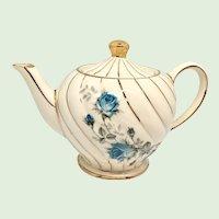 Sadler England Swirl Blue Rose #7200 1-1/2 Cup Single-Serving Teapot Gold Trim