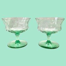 Tiffin US Glass Green Elegant #15028 Saucer Champagnes/Low Sherbets Diamond Optic Depression Era- Pair