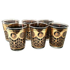 Mid-Century Libbey for Prudential Rock of Gibraltar Black and Gold Double Old Fashioned Tumblers Set