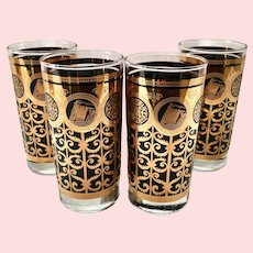 MCM Libbey for Prudential Black and Gold Rock of Gibraltar HiBall Tumblers - Set of Four