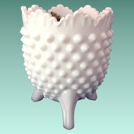 Fenton Hobnail Milk Glass Vase With Paper Label Circa 1970s
