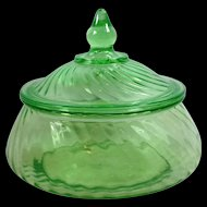 Hocking Spiral Green Depression Glass Covered Preserve Bowl