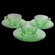 Hocking Block Optic Green Depression Glass Cups and Saucers Set of Three