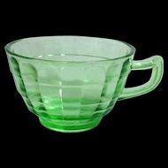 Hocking Block Optic Green Depression Glass Cups - Set of Three