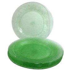 Indiana Horseshoe No. 612 Green Depression Glass 8-inch Salad Plate