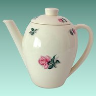Edwin Knowles Rose and Leaf Coupe Shape Coffee Pot 1950s