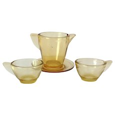 Akro Agate Play Time Depression Glass Stippled Band Amber Child's Toy Dishes 4-Piece Set