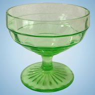 Hocking Block Optic Green Depression Glass Sherbet
