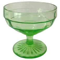 Hocking Block Optic Green Depression Glass Sherbet