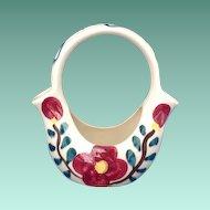 Purinton Pottery Ohio Mountain Rose Oval Double-Spouted Basket Vase