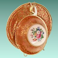 Aynsley Bone China #878 Gold Leaf Design on Orange Rim Teacup and Saucer