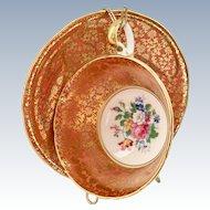 Aynsley Bone China #878 Gold Leaf Design on Orange Rim Teacup and Saucer
