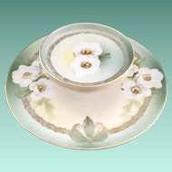RS Tillowitz Silesia White Camellias Two-Tiered Cheese and Cracker Serving Plate