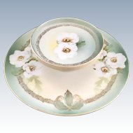 White Camellias Two-Tiered Cheese and Cracker Serving Plate RS Tillowitz Silesia