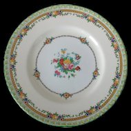 Minton England B1201 Enameled Flowers Green Rim Dinner Plate Circa 1920s