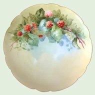 Haviland Limoges France Red Raspberries Hand-Painted Plate Artist Signed C.V. Molen.