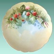 Haviland France Red Raspberries Hand-Painted Plate Artist Signed C.V. Molen.