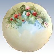 Haviland France Red Raspberries Hand-Painted Plate Artist Signed C.V. Molen.