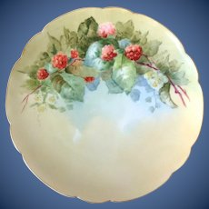 Haviland Limoges France Red Raspberries Hand-Painted Plate Artist Signed C.V. Molen.