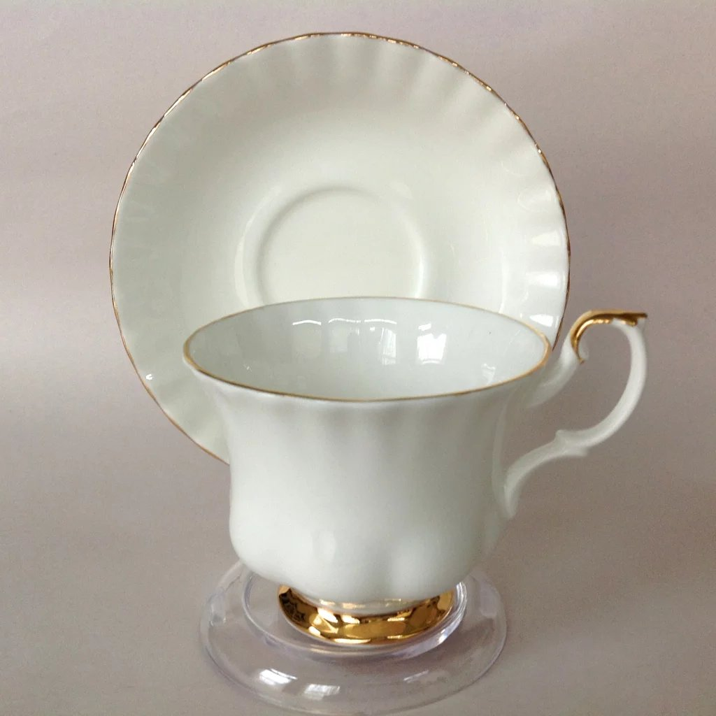 Royal Albert Val D Or White Bone China Teacup And Saucer