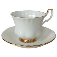 Royal Albert Val D'or White Bone China Teacup and Saucer with Gold Trim