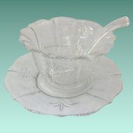 Fostoria Elegant Glass Chintz Etched Baroque Mayonnaise Bowl and Liner with Ladle